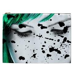 Beauty Woman Close Up Artistic Portrait Cosmetic Bag (xxl)  by dflcprints