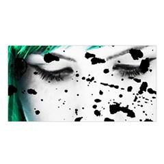 Beauty Woman Close Up Artistic Portrait Satin Shawl by dflcprints