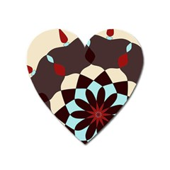 Red And Black Flower Pattern Heart Magnet by theunrulyartist