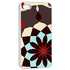 Red And Black Flower Pattern Apple Iphone 4/4s Seamless Case (white) by theunrulyartist