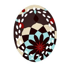 Red And Black Flower Pattern Ornament (oval Filigree) by theunrulyartist