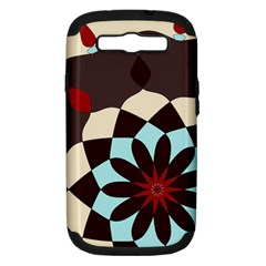 Red And Black Flower Pattern Samsung Galaxy S Iii Hardshell Case (pc+silicone) by theunrulyartist