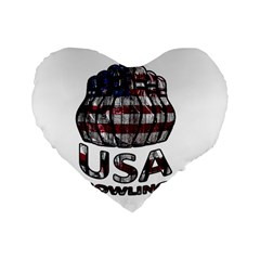 Usa Bowling  Standard 16  Premium Flano Heart Shape Cushions by Valentinaart