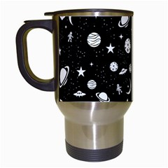 Space Pattern Travel Mugs (white) by Valentinaart