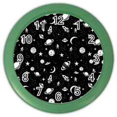 Space Pattern Color Wall Clocks by Valentinaart