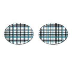 Plaid Pattern Cufflinks (oval) by Valentinaart