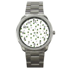 Cactus Pattern Sport Metal Watch by Valentinaart
