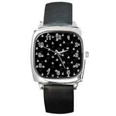 Cactus Pattern Square Metal Watch by Valentinaart