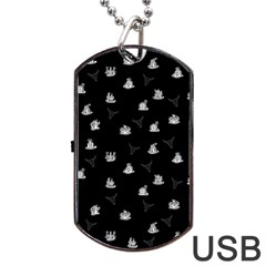 Cactus Pattern Dog Tag Usb Flash (one Side) by Valentinaart