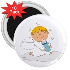Angel Baby Bottle Cute Sweet 3  Magnets (10 Pack)  by Nexatart