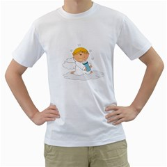 Angel Baby Bottle Cute Sweet Men s T Shirt (white) (two Sided) by Nexatart