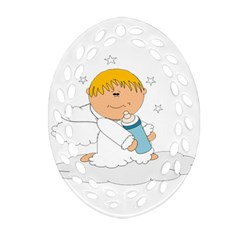 Angel Baby Bottle Cute Sweet Oval Filigree Ornament (two Sides) by Nexatart