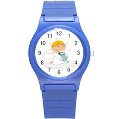 Angel Baby Bottle Cute Sweet Round Plastic Sport Watch (s) by Nexatart
