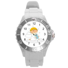 Angel Baby Bottle Cute Sweet Round Plastic Sport Watch (l) by Nexatart