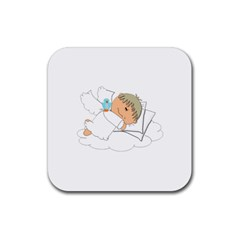 Sweet Dreams Angel Baby Cartoon Rubber Square Coaster (4 Pack)  by Nexatart