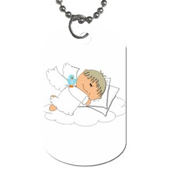 Sweet Dreams Angel Baby Cartoon Dog Tag (two Sides) by Nexatart