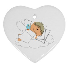 Sweet Dreams Angel Baby Cartoon Heart Ornament (two Sides) by Nexatart