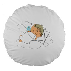 Sweet Dreams Angel Baby Cartoon Large 18  Premium Flano Round Cushions by Nexatart