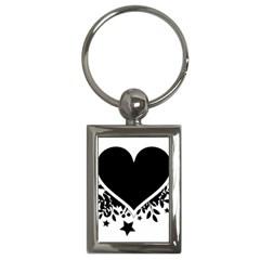 Silhouette Heart Black Design Key Chains (rectangle)  by Nexatart