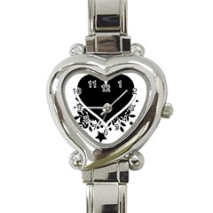 Silhouette Heart Black Design Heart Italian Charm Watch by Nexatart