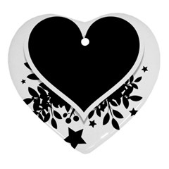 Silhouette Heart Black Design Heart Ornament (two Sides) by Nexatart