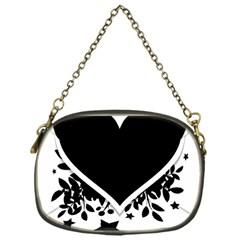 Silhouette Heart Black Design Chain Purses (one Side)  by Nexatart