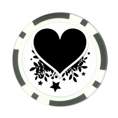 Silhouette Heart Black Design Poker Chip Card Guard (10 Pack) by Nexatart