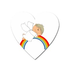 Angel Rainbow Cute Cartoon Angelic Heart Magnet by Nexatart