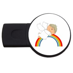 Angel Rainbow Cute Cartoon Angelic Usb Flash Drive Round (2 Gb) by Nexatart