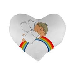 Angel Rainbow Cute Cartoon Angelic Standard 16  Premium Flano Heart Shape Cushions by Nexatart