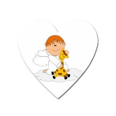 Pet Giraffe Angel Cute Boy Heart Magnet by Nexatart