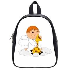 Pet Giraffe Angel Cute Boy School Bags (small)  by Nexatart