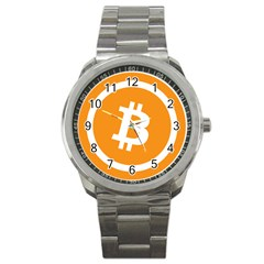 Bitcoin Cryptocurrency Currency Sport Metal Watch by Nexatart
