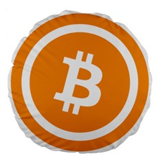 Bitcoin Cryptocurrency Currency Large 18  Premium Flano Round Cushions by Nexatart