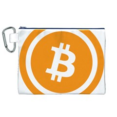 Bitcoin Cryptocurrency Currency Canvas Cosmetic Bag (xl) by Nexatart