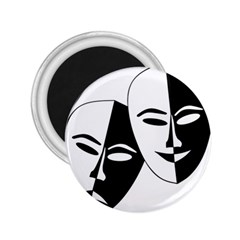 Theatermasken Masks Theater Happy 2 25  Magnets by Nexatart