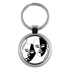 Theatermasken Masks Theater Happy Key Chains (round)  by Nexatart
