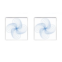 Blue Spirograph Pattern Drawing Design Cufflinks (square) by Nexatart