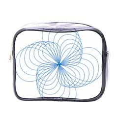 Blue Spirograph Pattern Drawing Design Mini Toiletries Bags by Nexatart