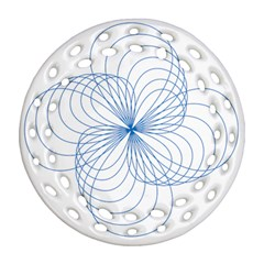Blue Spirograph Pattern Drawing Design Round Filigree Ornament (two Sides) by Nexatart