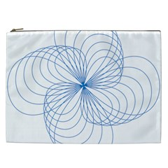Blue Spirograph Pattern Drawing Design Cosmetic Bag (xxl)  by Nexatart