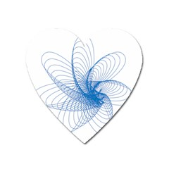 Spirograph Pattern Drawing Design Blue Heart Magnet by Nexatart