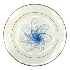 Spirograph Pattern Drawing Design Blue Porcelain Plates by Nexatart