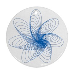 Spirograph Pattern Drawing Design Blue Round Ornament (two Sides) by Nexatart