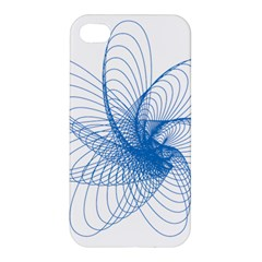 Spirograph Pattern Drawing Design Blue Apple Iphone 4/4s Premium Hardshell Case by Nexatart