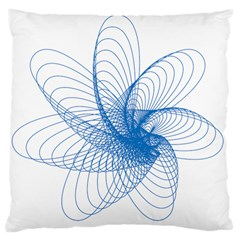 Spirograph Pattern Drawing Design Blue Large Cushion Case (two Sides) by Nexatart