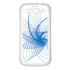 Spirograph Pattern Drawing Design Blue Samsung Galaxy S3 Back Case (white) by Nexatart