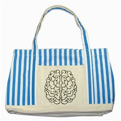 Brain Mind Gray Matter Thought Striped Blue Tote Bag by Nexatart