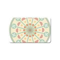 Blue Circle Ornaments Magnet (name Card) by Nexatart