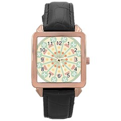 Blue Circle Ornaments Rose Gold Leather Watch  by Nexatart